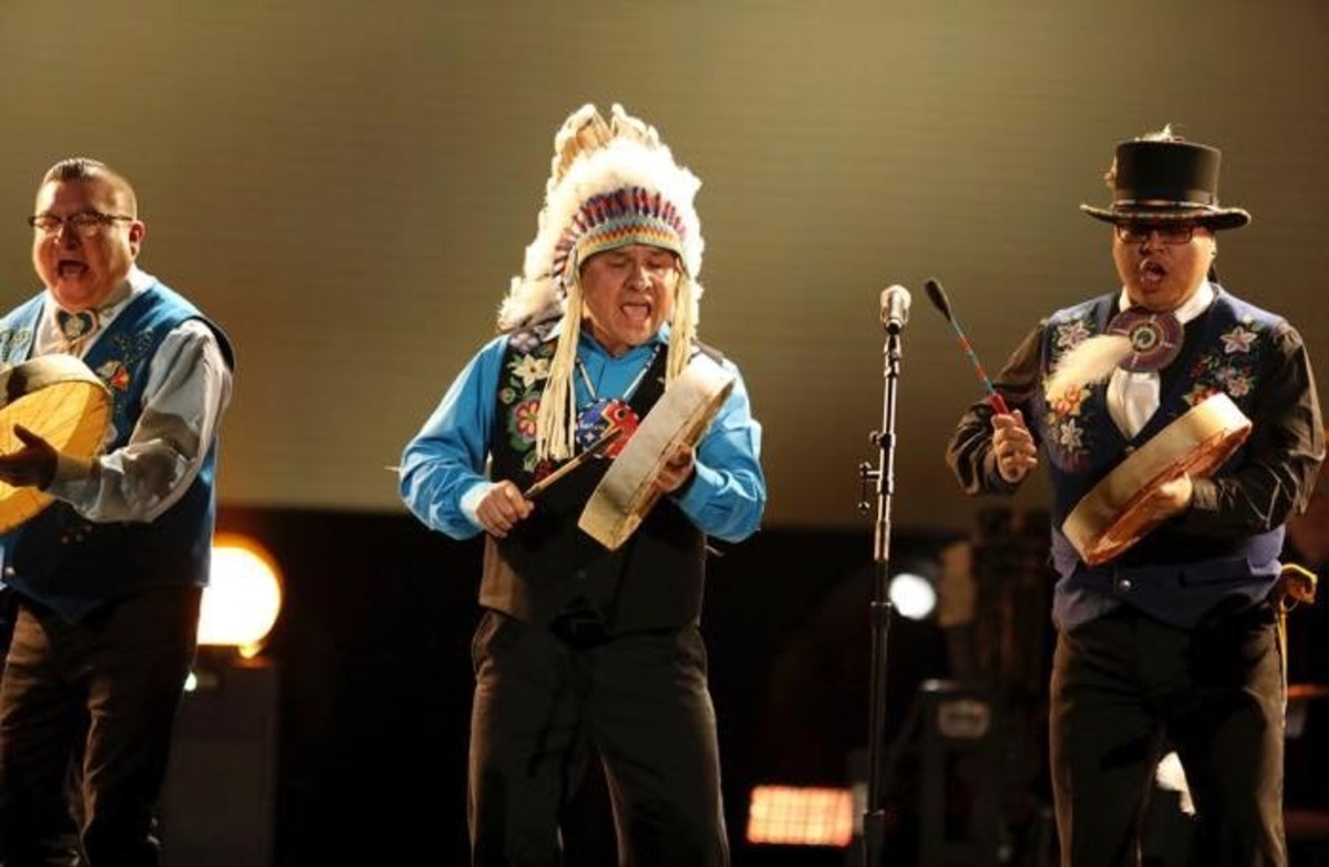 Northern Cree performs at the 59th annual Grammy Awards on Sunday, Feb. 12, 2017, in Los Angeles. (Steve Wood is in the center.) Photo credit - Matt Sayles - Invision - AP