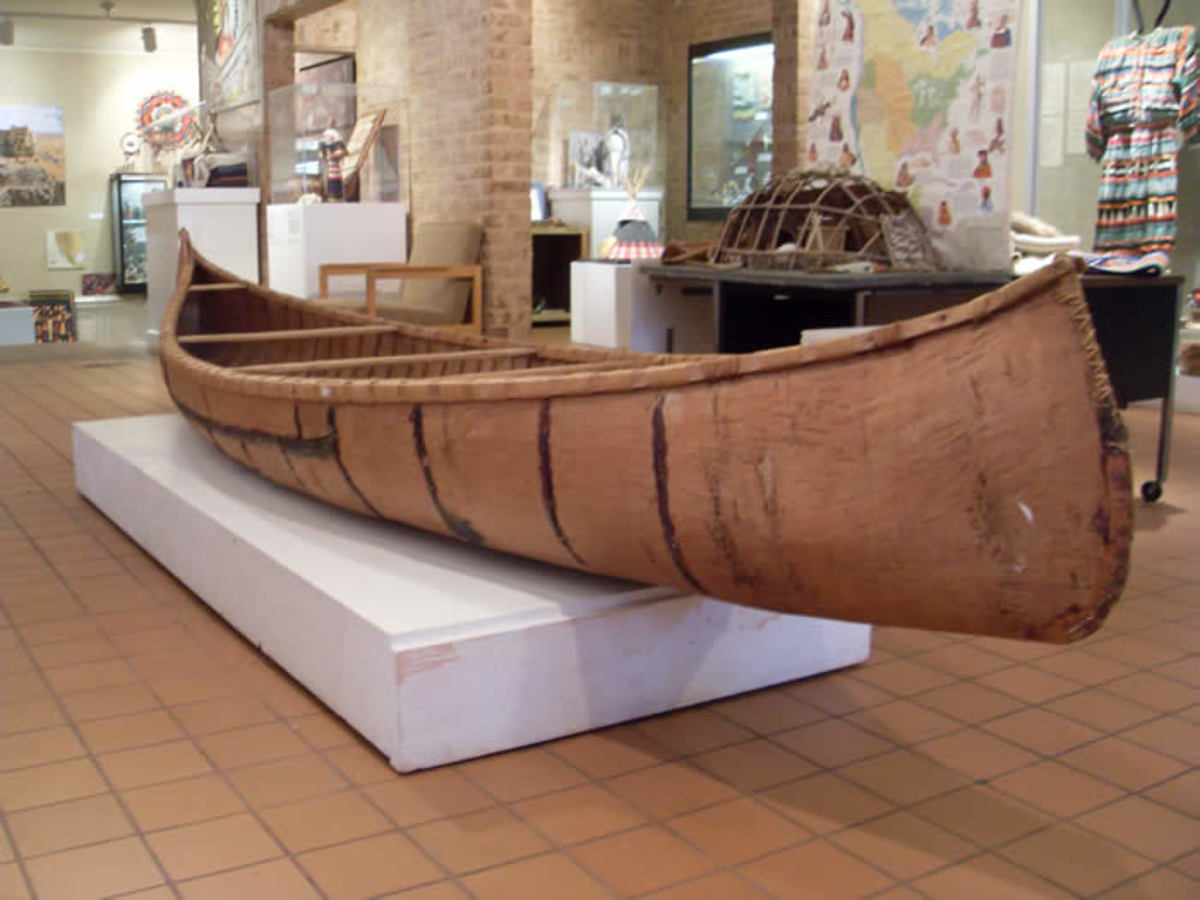 A Native canoe on display at the Mitchell Museum of the American Indian.
