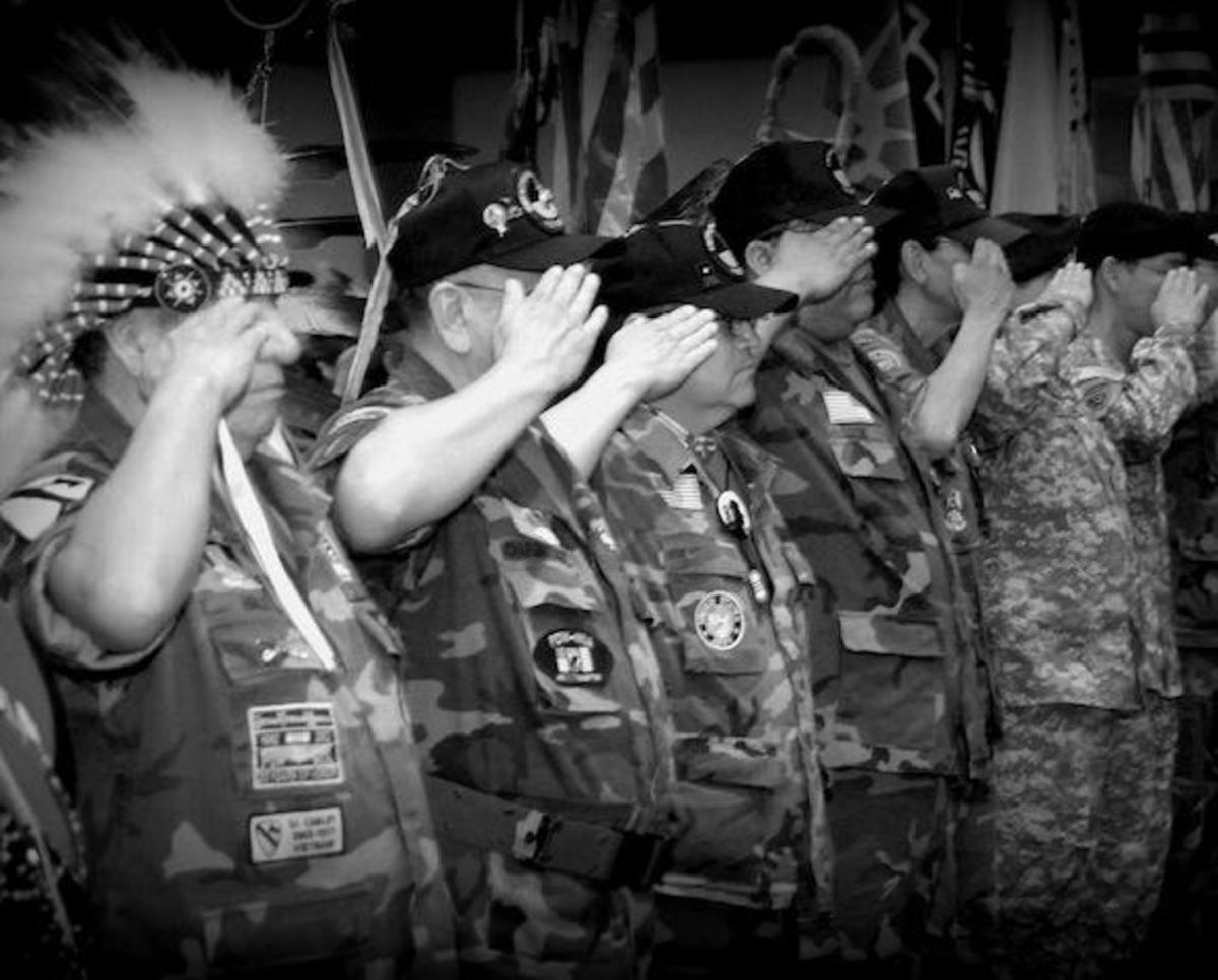 A Native American Veteran while in the service, always had to be ready to salute an officer. And officers have to be ready at all times to return a salute.