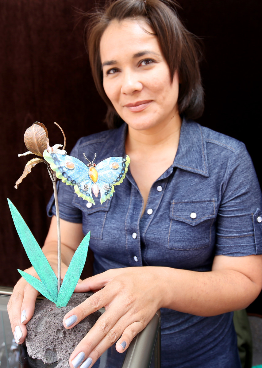 Liz Wallace crafted dragonfly earrings made from sterling silver, vitreous enamel, opal, 24K gold, garnets, and fresh water pearls.
