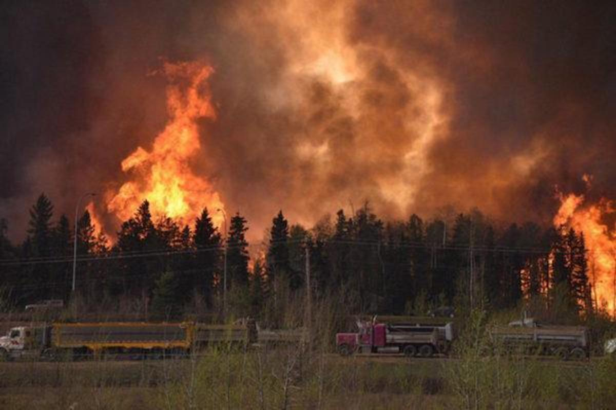 The entire 80,000 population of Fort McMurray, Alberta, hub of Canada's oil sands region, has been evacuated as it is engulfed by wildfire. First Nations are also affected. No lives have been lost, but many people have lost everything they own.