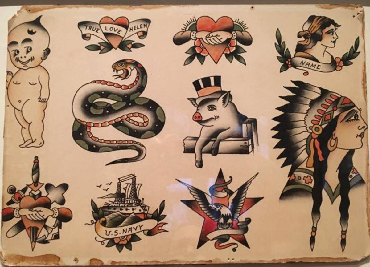 Flash sheets were portfolios of popular tattoos drawn by artists to help meet the increased demand for tattoos. Stereotypical Native American tattoos, like the woman in a headdress were popular and are seen throughout the exhibit.