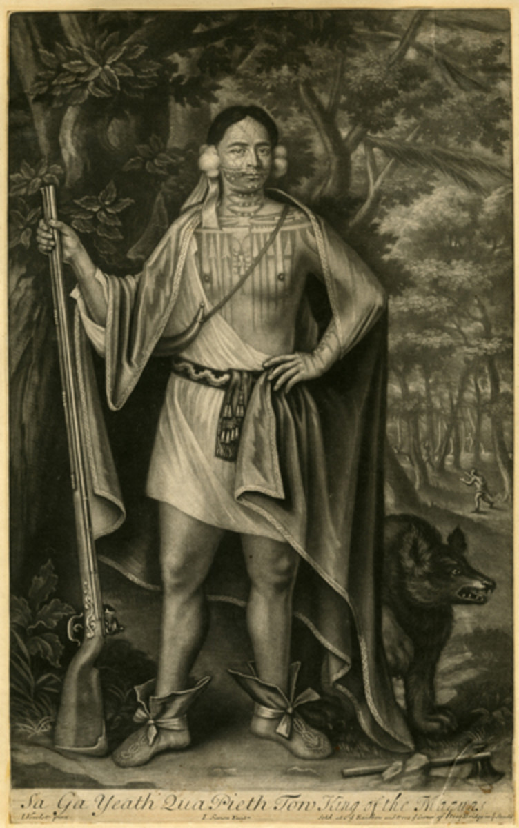 """Sa Ga Yeath Qua Pieth Tow was a Maquas )or Mohawk) chief. This mezzotint from 1710 is one of the oldest items on display at the New-York Historical Society. The """"Tattooed New York"""" exhibit has a number of representations of Native American tattoos."""