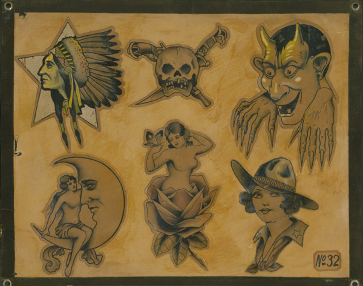 This flash sheet from the 1920s shows popular tattoos drawn by Bob Wicks around 1930.