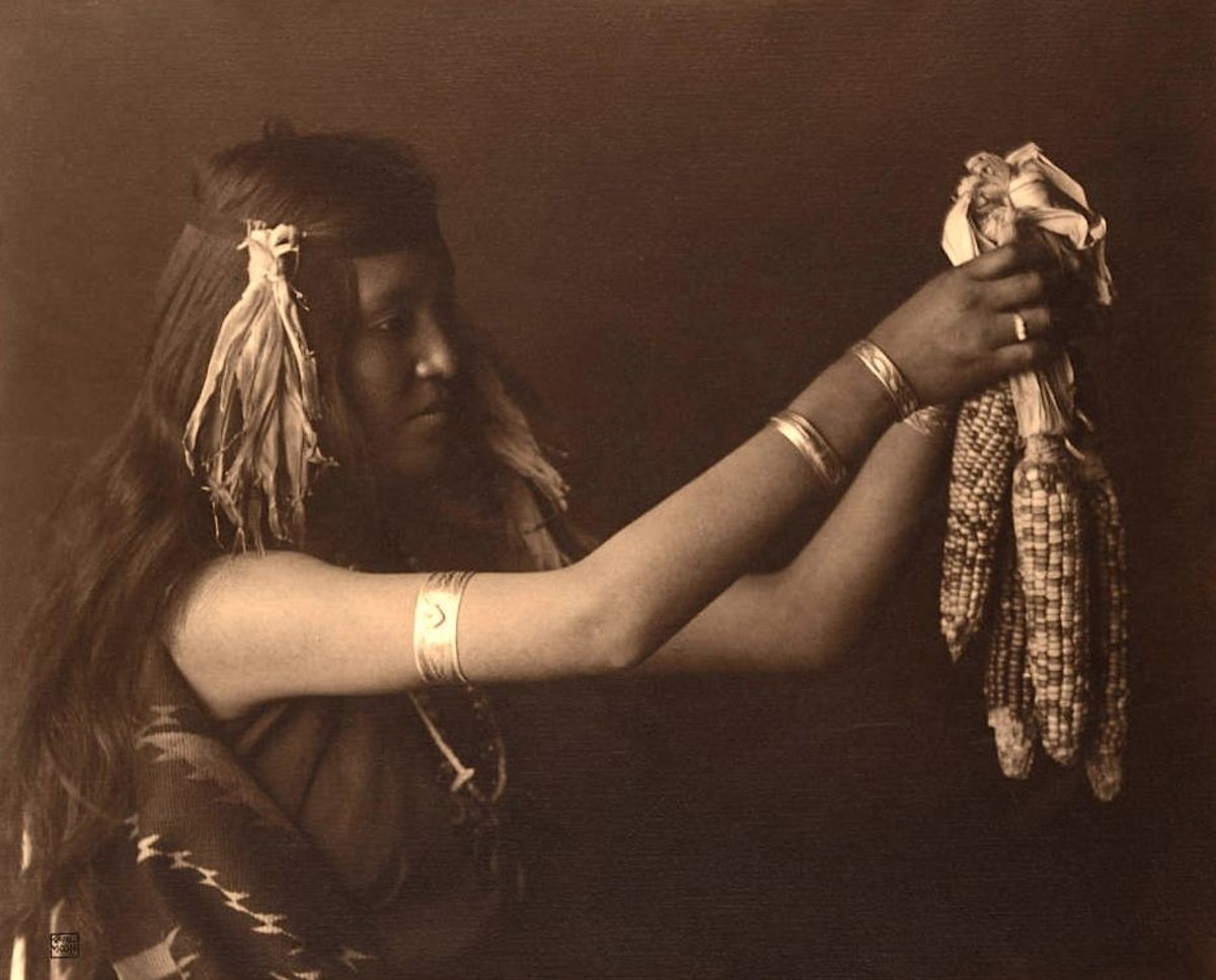 'Spirit of the corn.' A Pueblo woman, most likely in New Mexico, 1904-05.