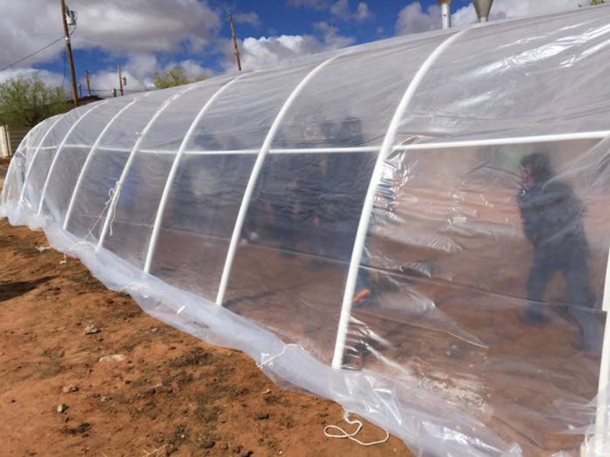 Students check out the warmer temperature inside the just covered hoop house.
