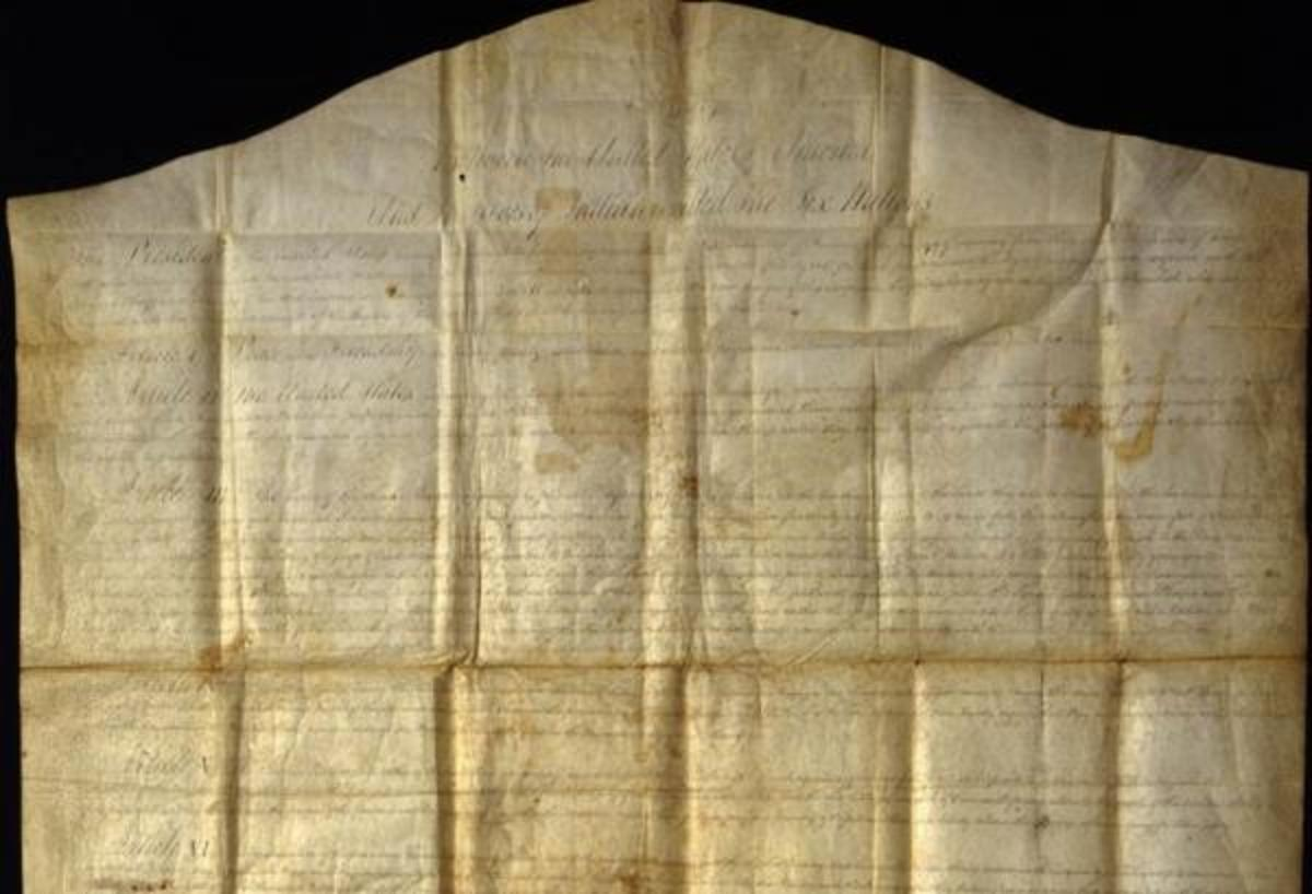 An original copy of the Canandaigua Treaty of 1794. This document recognizes most of western New York State as holdings of the Confederacy and guarantees Indians the right to sell their land to U.S. citizens. Chiefs claim the treaty is valid and has not