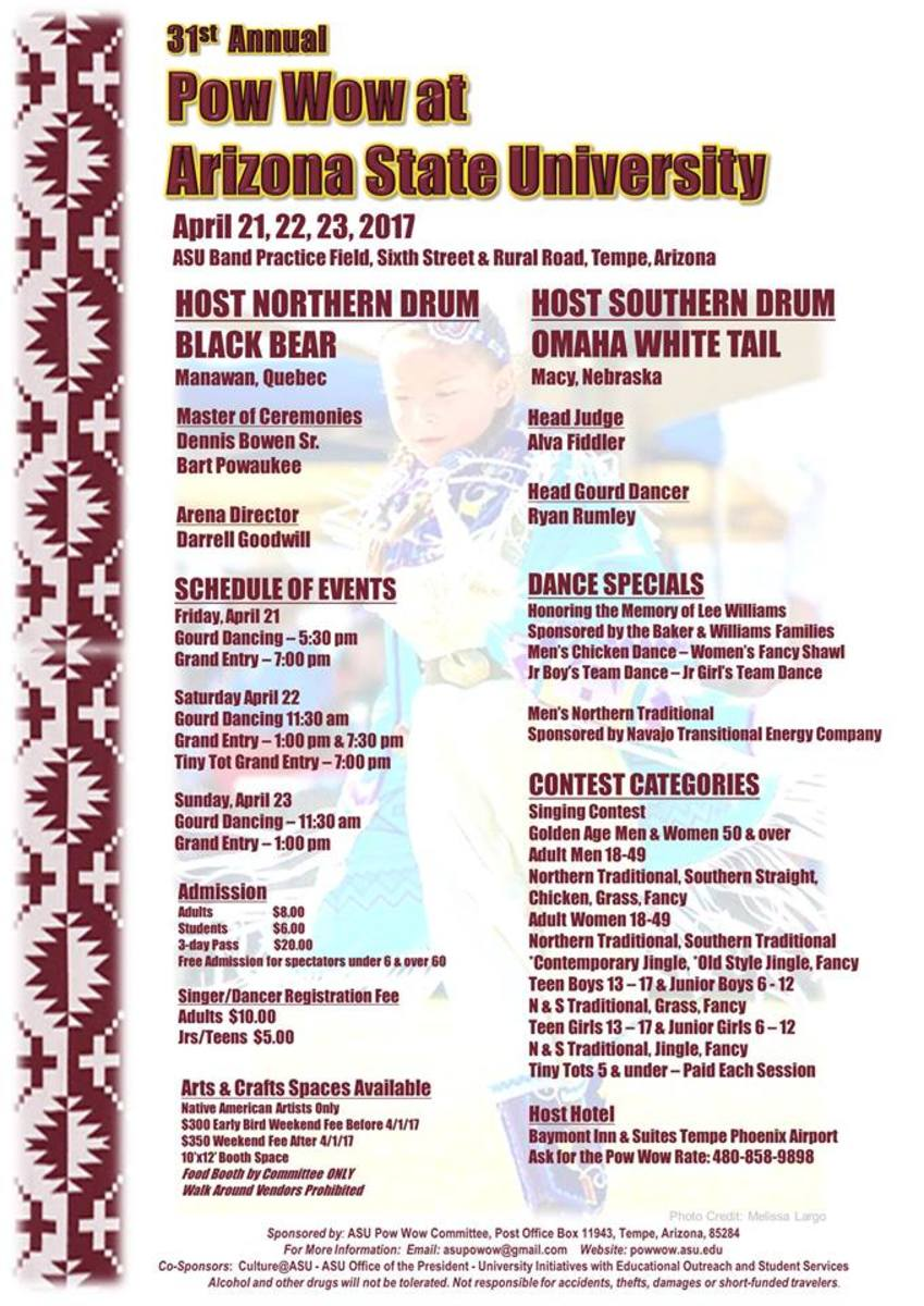 ASU 2017 Pow Wow Apr 21-23. This weekly pow wow planner for Apr. 21-23 includes the ASU 31st Annual Pow Wow.