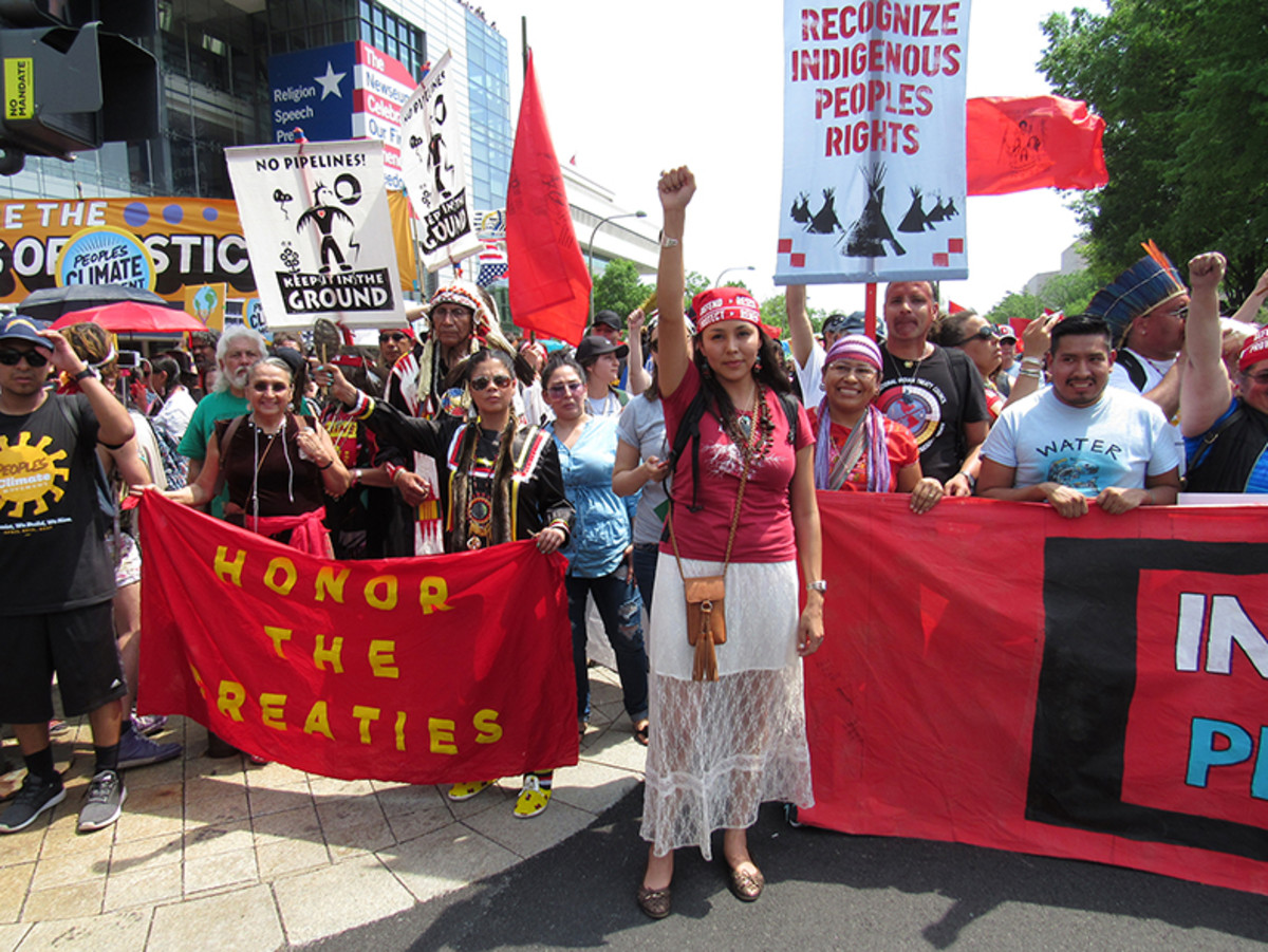 Navajo activist and community leader Janene Yazzie traveled all the way from Gallup New Mexico to stand and be heard.