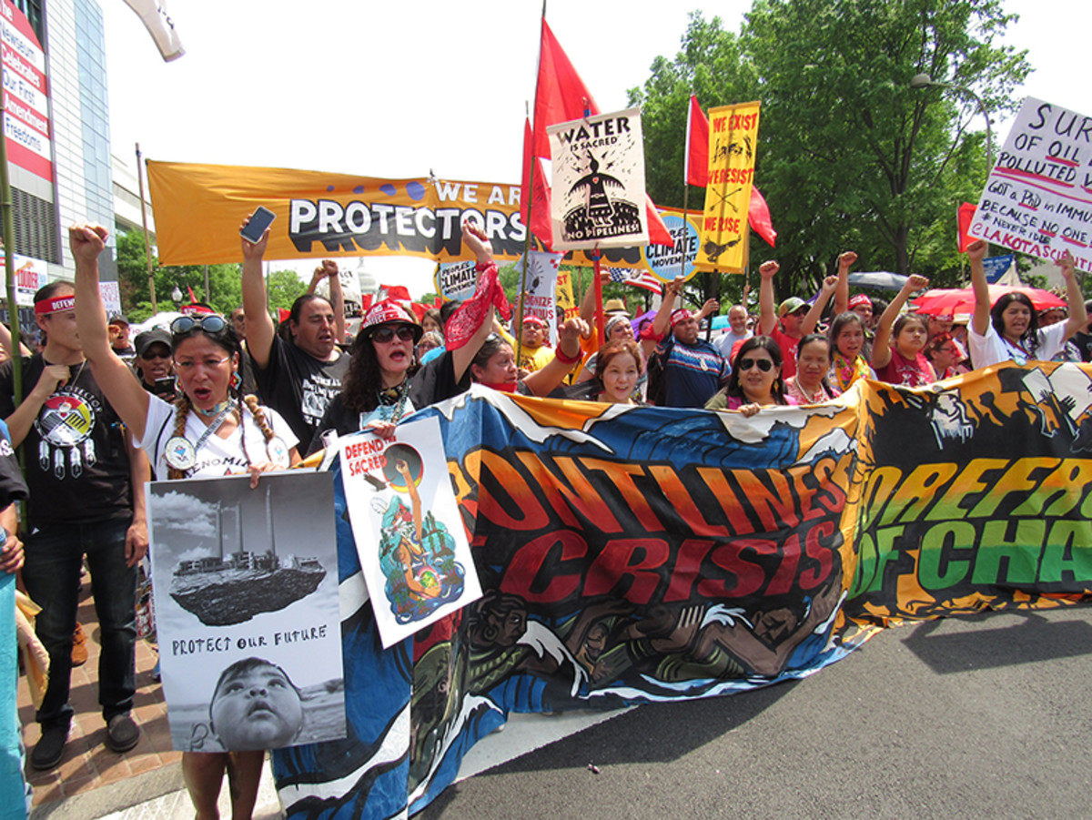A proud moment for many of the thousands of indigenous marchers who had the honor of leading the protest.