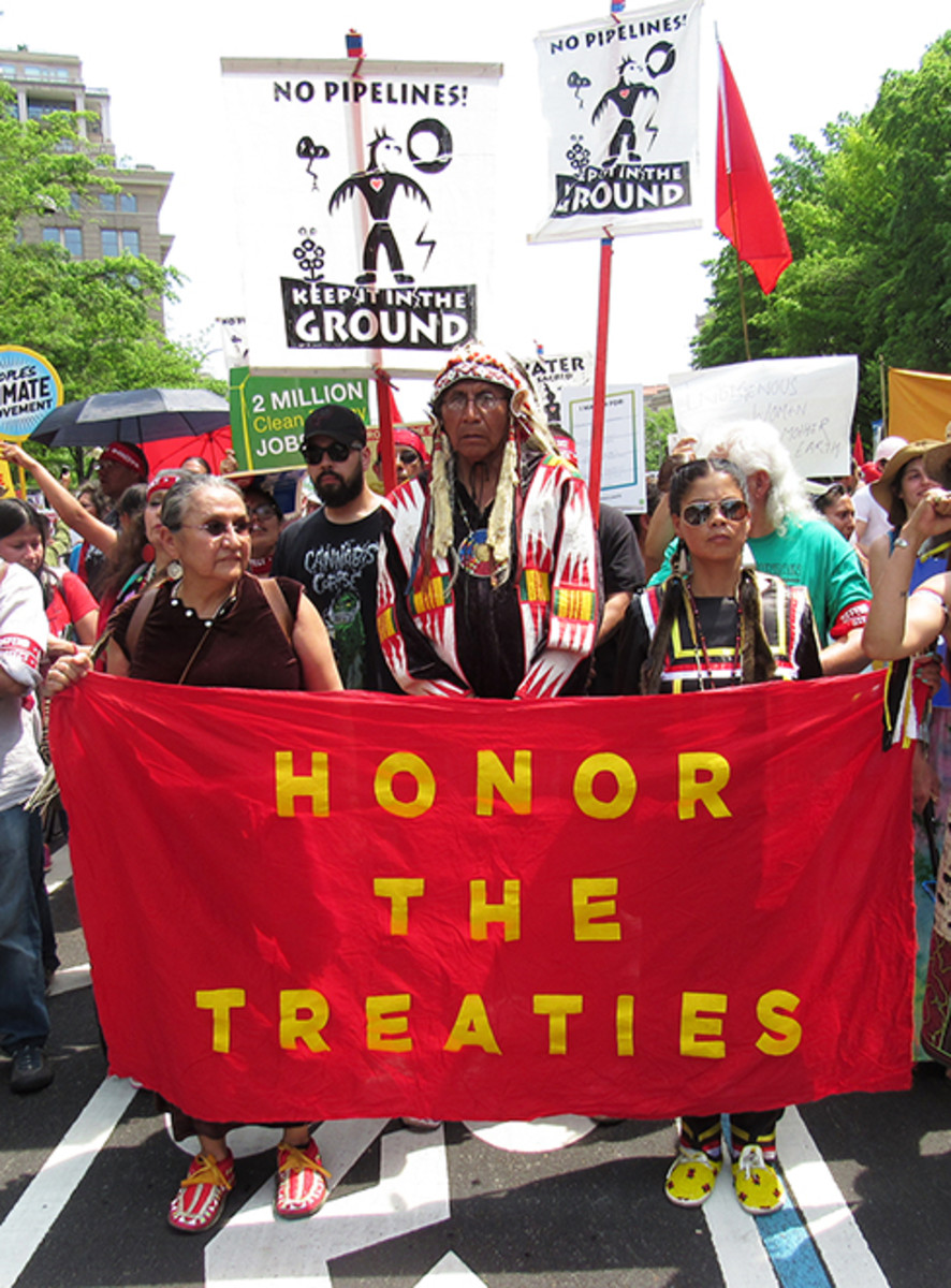 Arvol Looking Horse, reminding American leaders to honor the treaties they have made with indigenous communities.