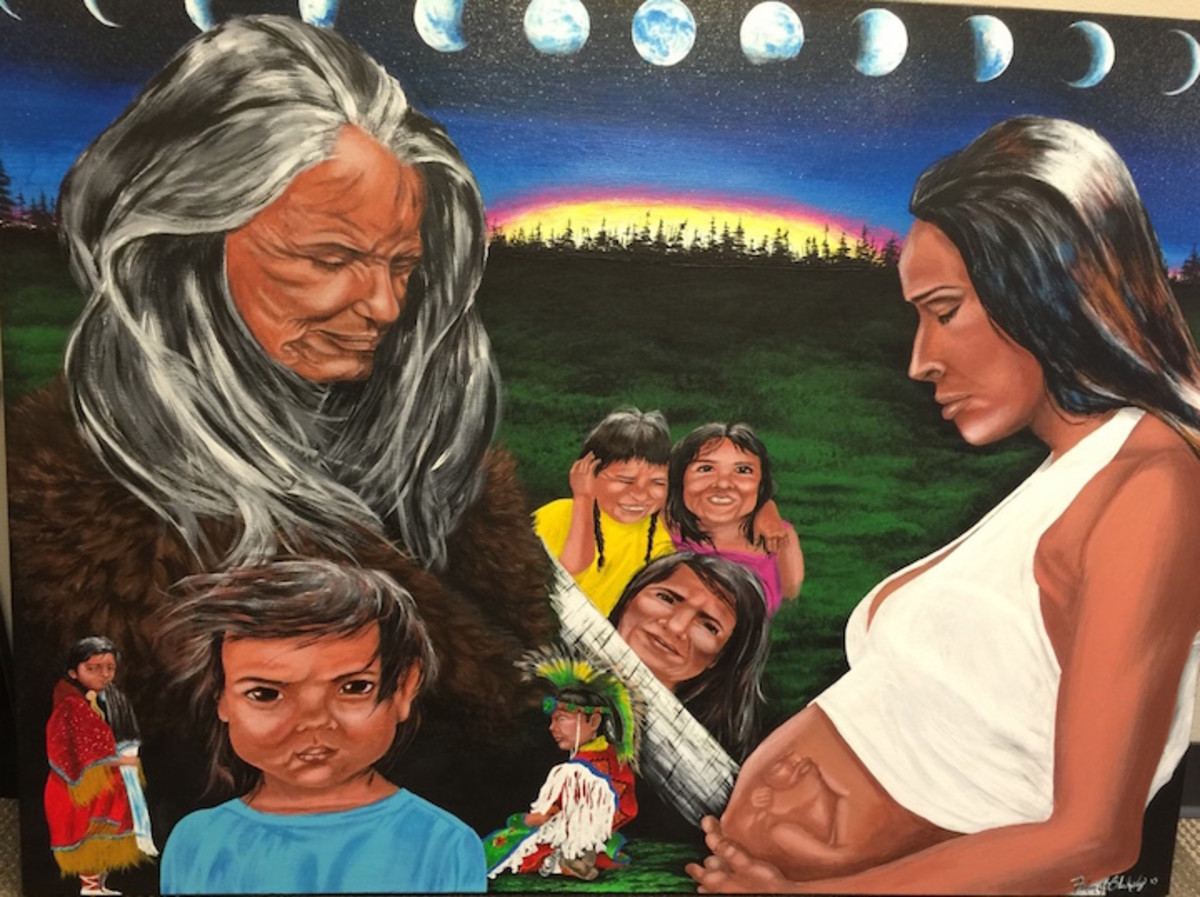 White Earth Nation tribal member Faron Blakely donated this painting to the MOMs program, which helps women stuck in a cycle of prenatal drug use. It represents 13 moons, grandmother's teachings and the need to go back to our way of life, explains Julie Williams, program manager.