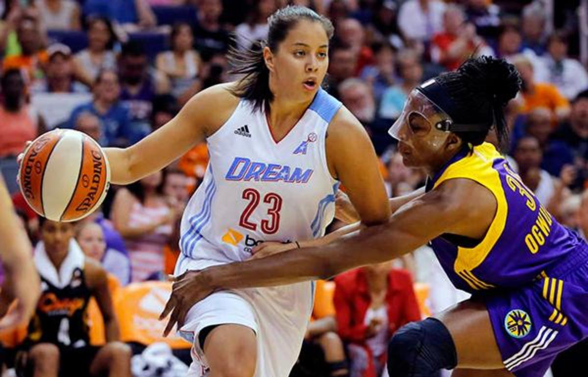 East's Shoni Schimmel (23), of the Atlanta Dream, drives against Nneka Ogwumike of the Los Angeles Sparks, during the second half the WNBA All-Star basketball game, Saturday, July 19, 2014, in Phoenix. The East won 125-124 in overtime. (AP Photo/Matt York)