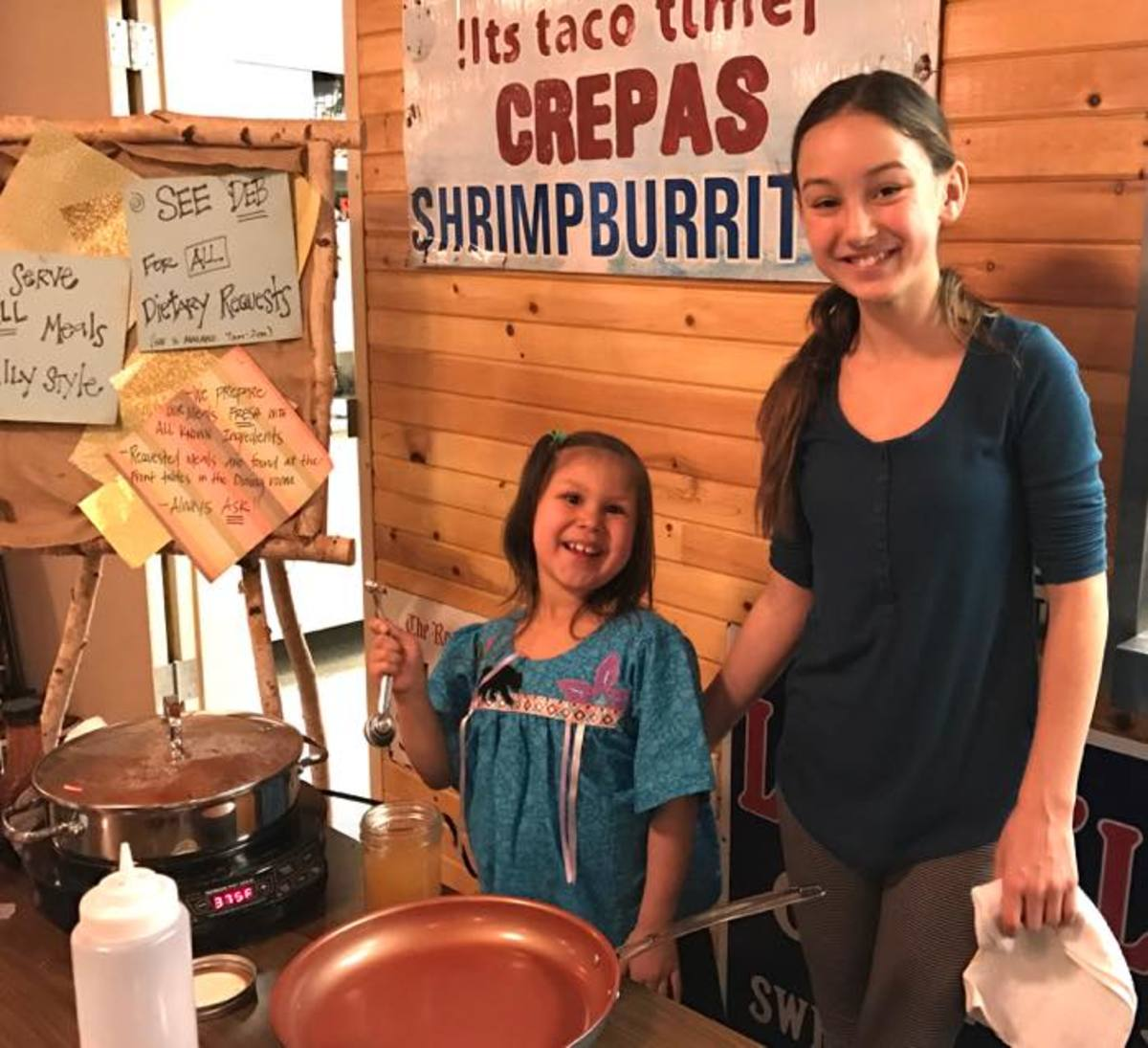 Maizie White hosts an interactive youth cooking demonstration. They made healthy indigenous snacks such as maple toasted pumpkin seeds, pan roasted sweet potatoes and wild rice bowls. Teaching Native American youth about food sovereignty is important.