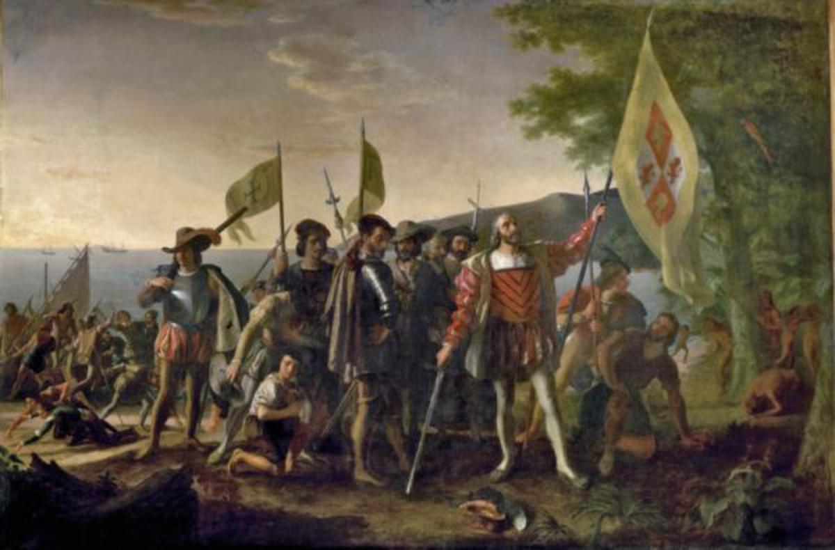 Christopher Columbus is shown landing in the West Indies, on an island that the Natives called Guanahani and he named San Salvador, on October 12, 1492. He raises the royal banner, claiming the land for his Spanish patrons, and stands bareheaded, with his hat at his feet, in honor of the sacredness of the event. The captains of the Niña and Pinta follow, carrying the banner of Ferdinand and Isabella. The crew displays a range of emotions, some searching for gold in the sand. Natives watch from behind a tree. Painting by John Vanderlyn (1775-1852)