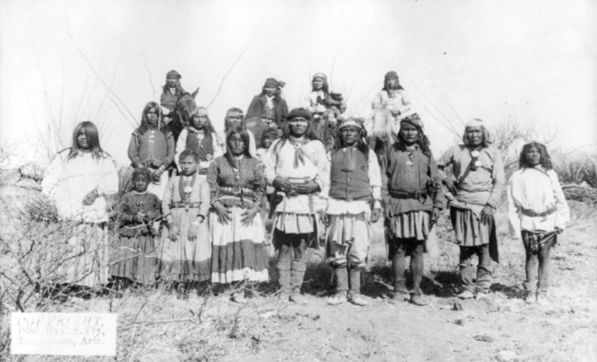 Scene in Geronimo's camp, March 25th-26th, before surrender to General Crook on March 27, 1886. Photo by C.S. Fly. Fly's photographs are the only known images of Indian combatants still in the field who had not yet surrendered to the United States.