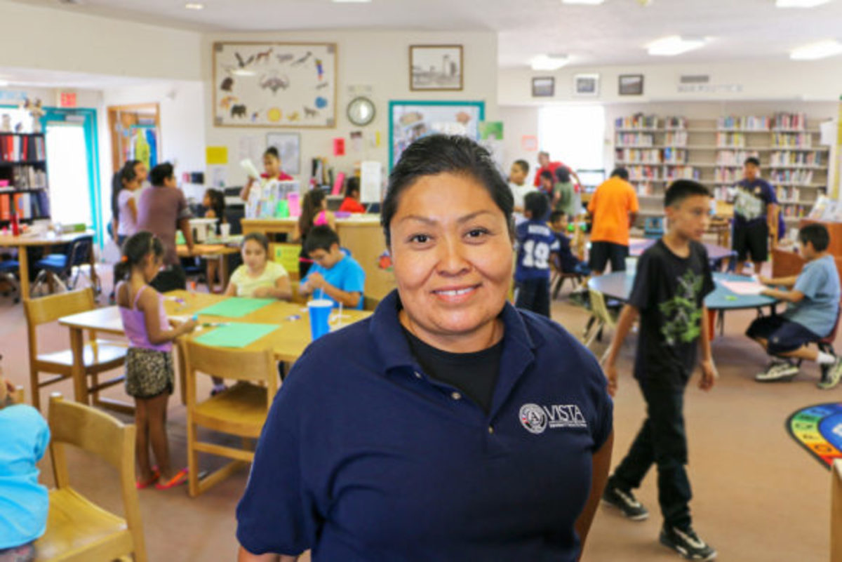 Second year AmeriCorps VISTA member Valerie Fernando (Laguna) is serving at the Laguna Community Foundation as a language and cultural preservation specialist. Fernando, a native Laguna Keres speaker, is working with the community library to organize and archive the native language collections, and develop outreach programs to engage community youth in language preservation and revitalization.