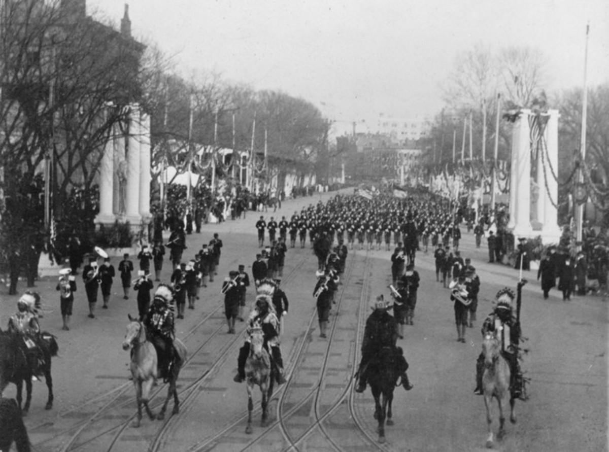 Indian chiefs headed by Geronimo, passing in review before President Theodore Roosevelt, Inauguration Day, March 4th, 1905, Washington, D.C., U.S.A.