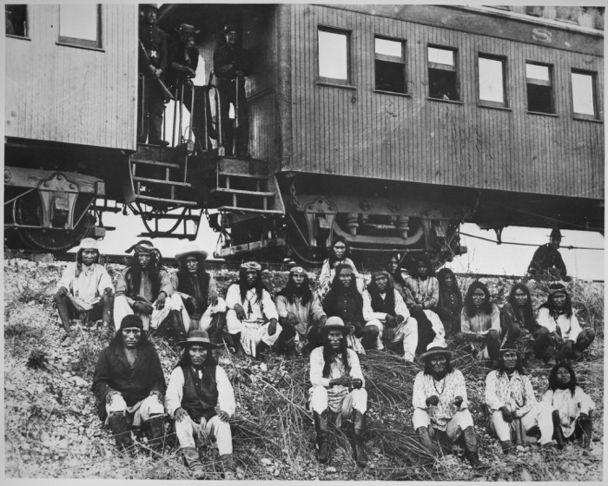 Geronimo on Sept 10th, 1886: Apache prisoners at rest stop beside Southern Pacific Railway, near Nueces River, Tex. Among those on way to exile in Florida are Natchez (center front) and Geronimo (3rd right, front) and his son in matching shirts.