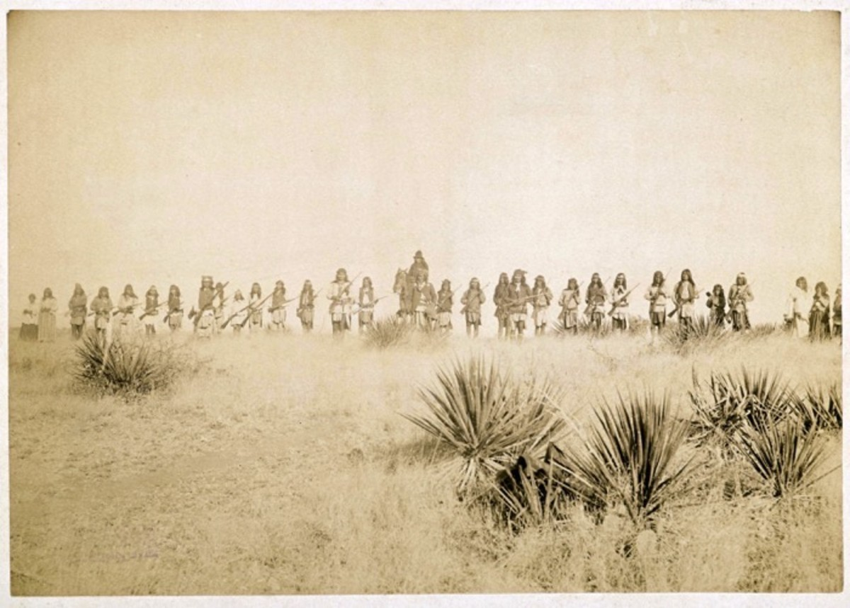 Geronimo and Armed Apaches on hillside, March 25th-26th, 1886. Photo by C. S. Fly of Geronimo and his warriors, taken before the surrender to Gen. Crook, March 27, 1886, in the Sierra Madre mountains of Mexico. Fly's photographs are the only known images of Indian combatants still in the field who had not yet surrendered to the United States.