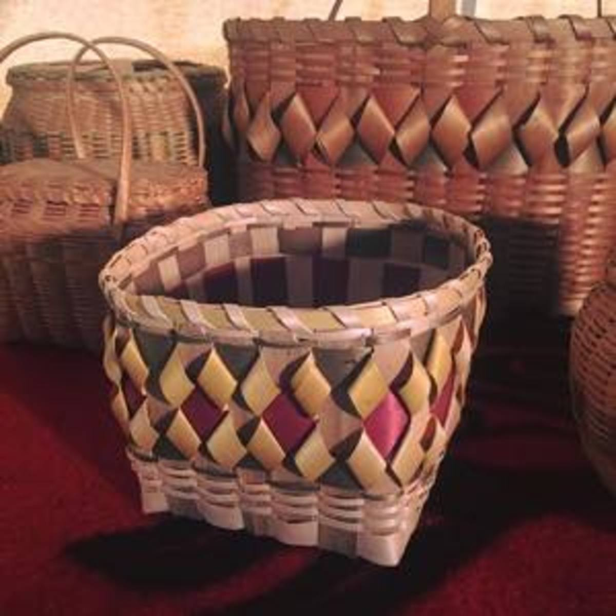 Participants who attended the seasonal day camps learned how to pound ash to make these traditional Ho-Chunk ash baskets.