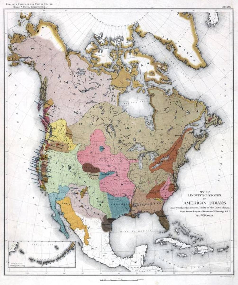 John Wesley Powell's 1891 book, Indian Linguistic Families North of Mexico, presented a map that illustrates some of the astounding diversity in the languages of this hemisphere.