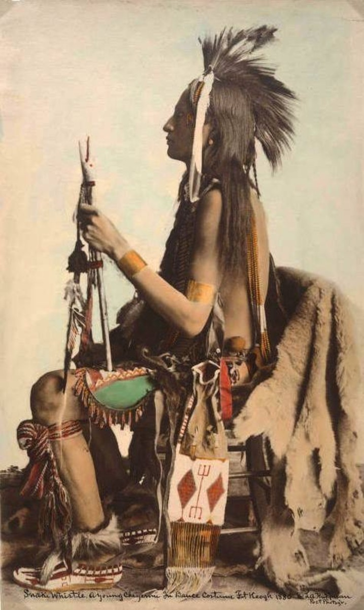 portraits, Snake Whistle, a young Cheyenne man in dance regalia, Fort Keogh, Montana, 1880. Photo by L.A. Huffman.