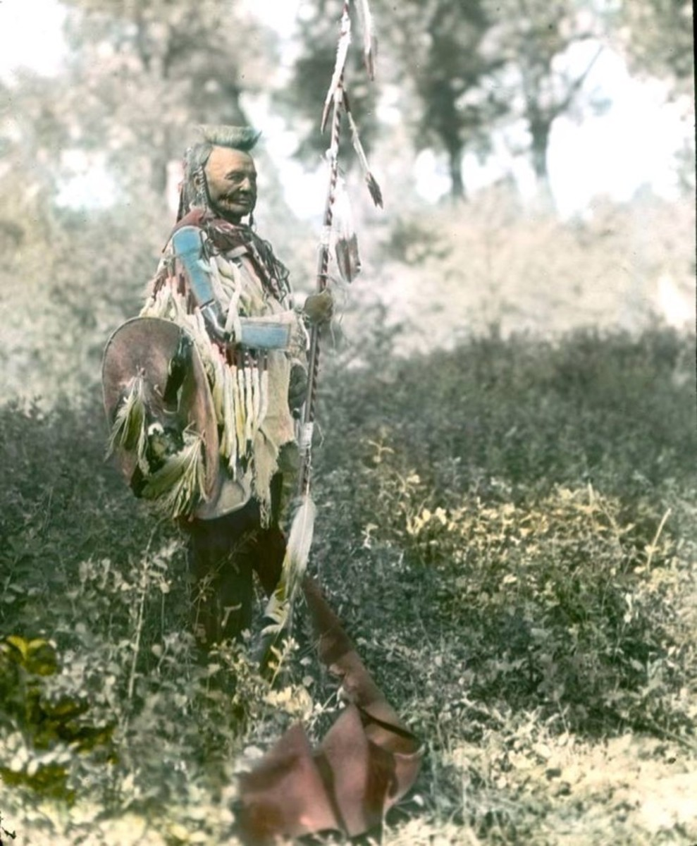 portraits, An Old Crow warrior, possibly Shot in the Hand. Early 1900s. Photo by Richard Throssel.