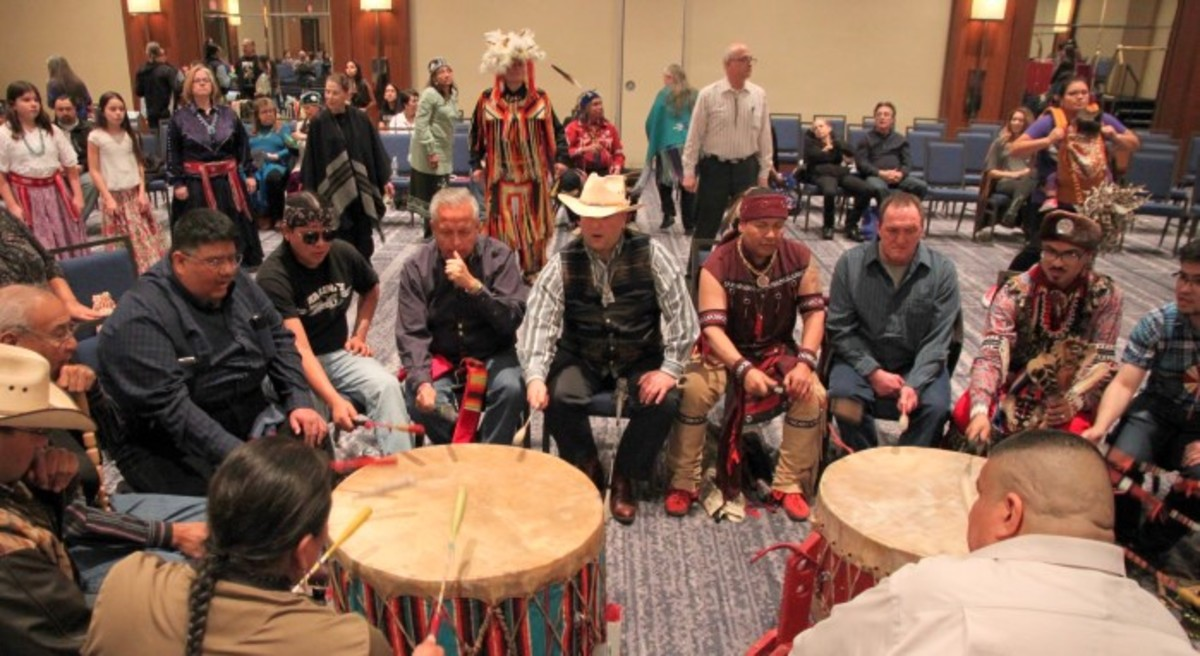 A great group of drummers sitting at two drums set an uplifting mood. Photo-Christian Gomez
