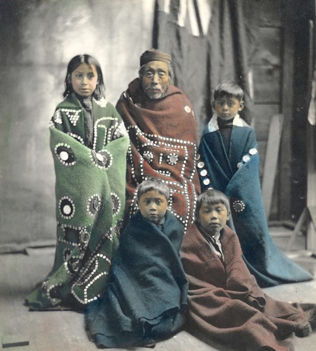 portraits, Group at a Potlatch. ca. 1900. British Columbia. Photo by Benjamin W. Leeson.