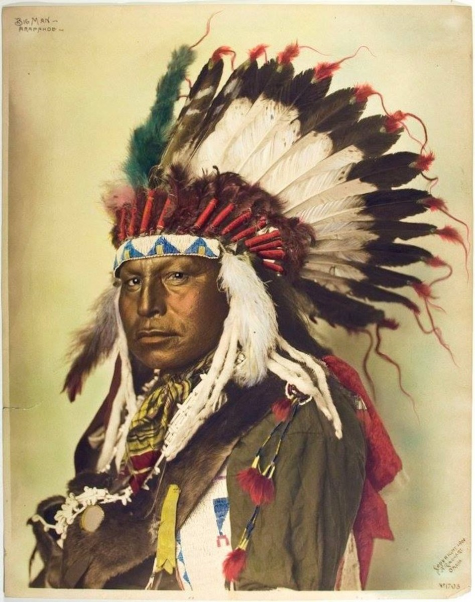 portraits, Big Man. Northern Arapaho. 1899. Photo by F.A. Rinehart with hand-coloring by Muhr.