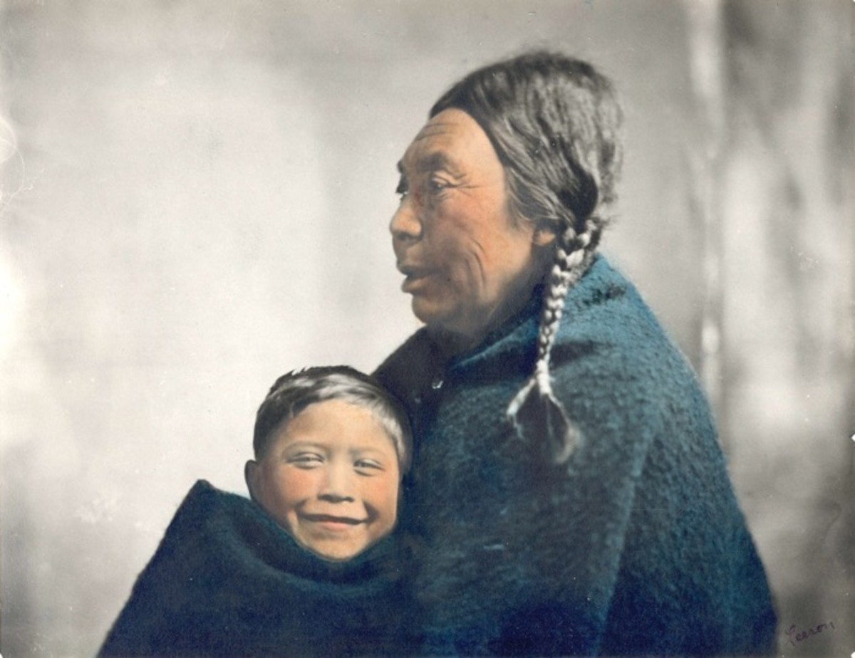 portraits, Ne-Kow-Se-Sla (Mrs. Warcas) with her grandson. First Nations, British Columbia. ca. 1900. Photo by Benjamin W. Leeson.