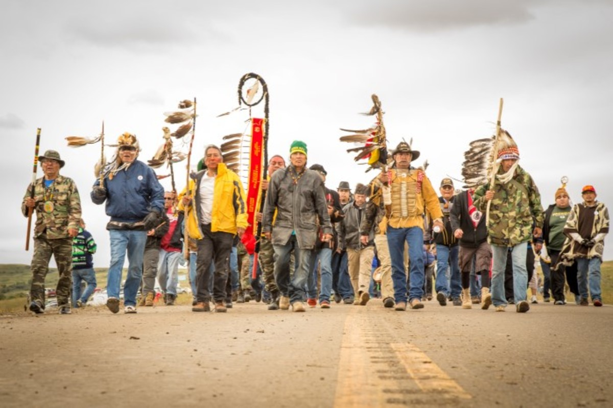 Native Veteran led March in September 2016 at the Standing Rock Oceti Sakowin Camp