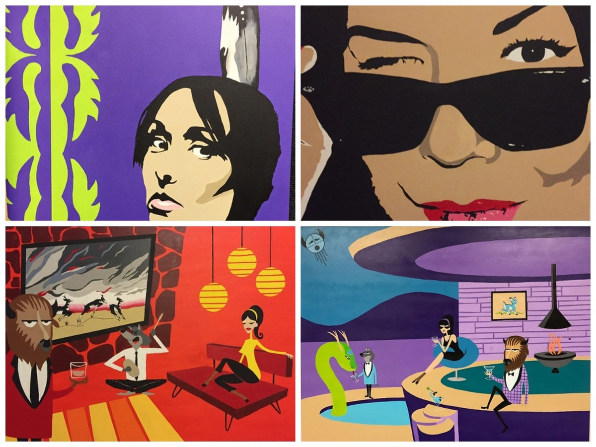 This Artwork by Tom Farris demonstrates a blend of pop culture and tradition. (top left) 'Hindsight' (top right) 'Oh Johnny Girl' (bottom left) 'Shag 2' (bottom right) 'Shag.'