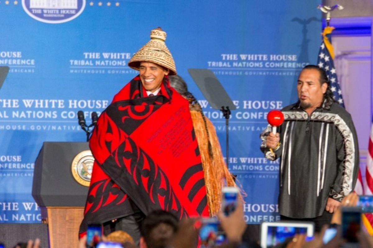 President Obama honored with a cedar hat by NCAI President Brian Cladoosby at the White House Tribal Nations Conference Sept 2016 - Photo Alex Hamer