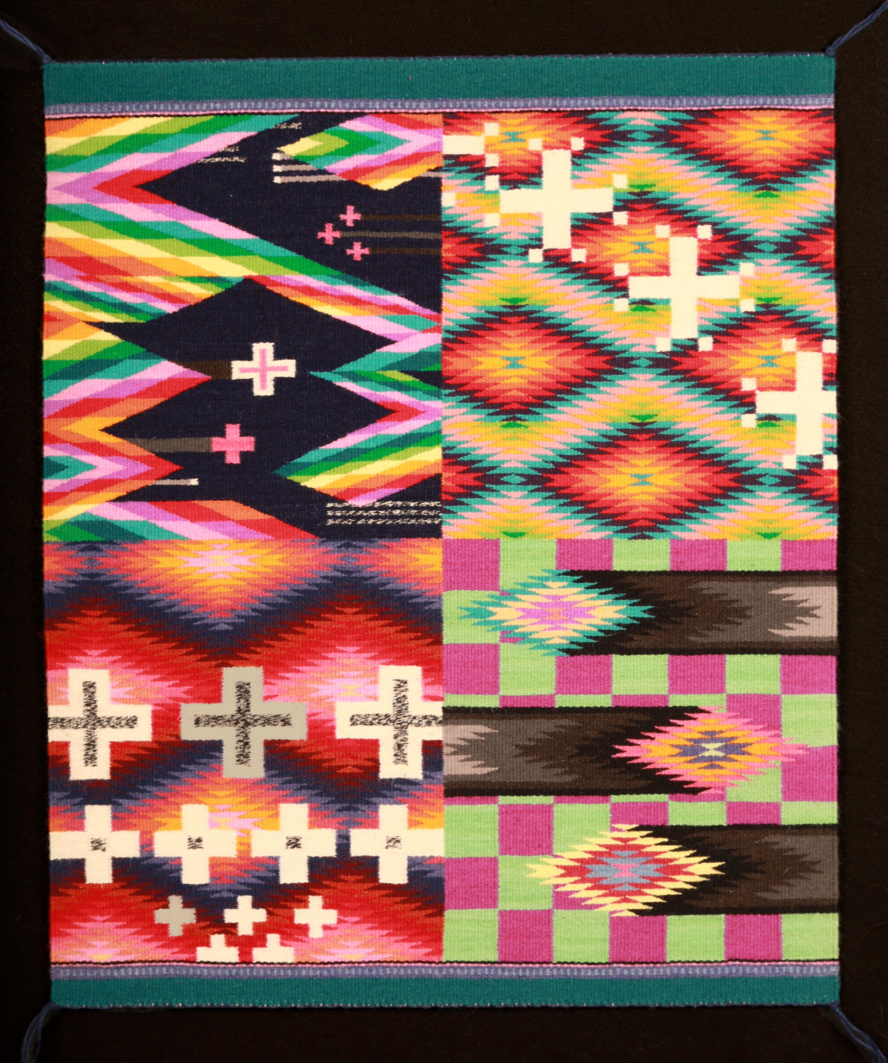 """First Place Melissa Cody – """"Fourth Dimension"""" – Germantown textile weaving - Native American Art Award of Excellence."""