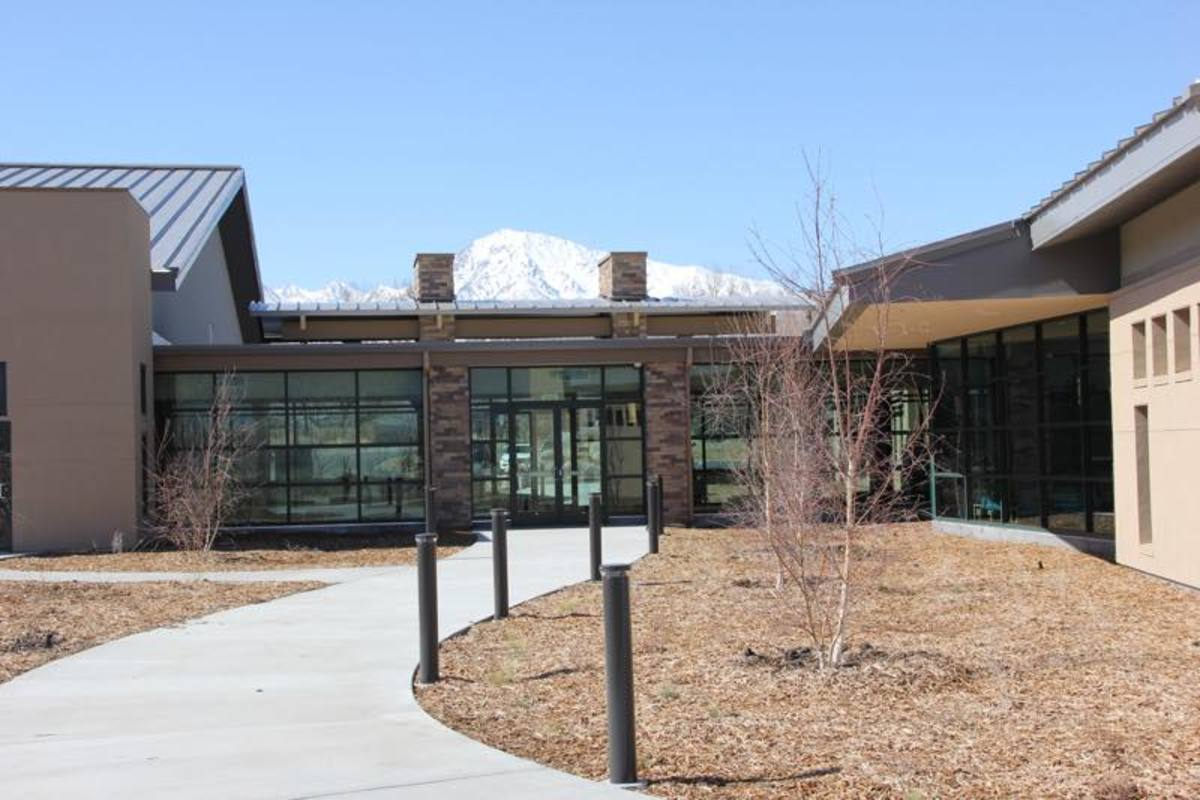 The entrance to the new Toiyabe Health Clinic, ringed by mountains and serving seven tribes in California.