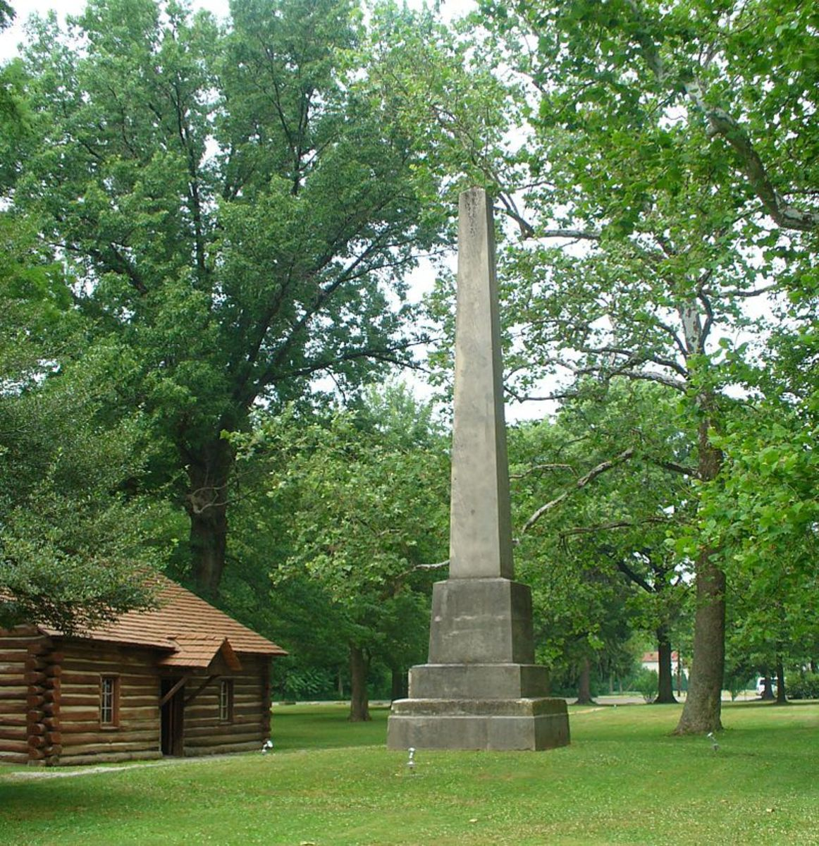 This 35-foot monument at the Gnadenhutten Massacre Site was erected to honor the 96 slain Moravian Delaware Indians.
