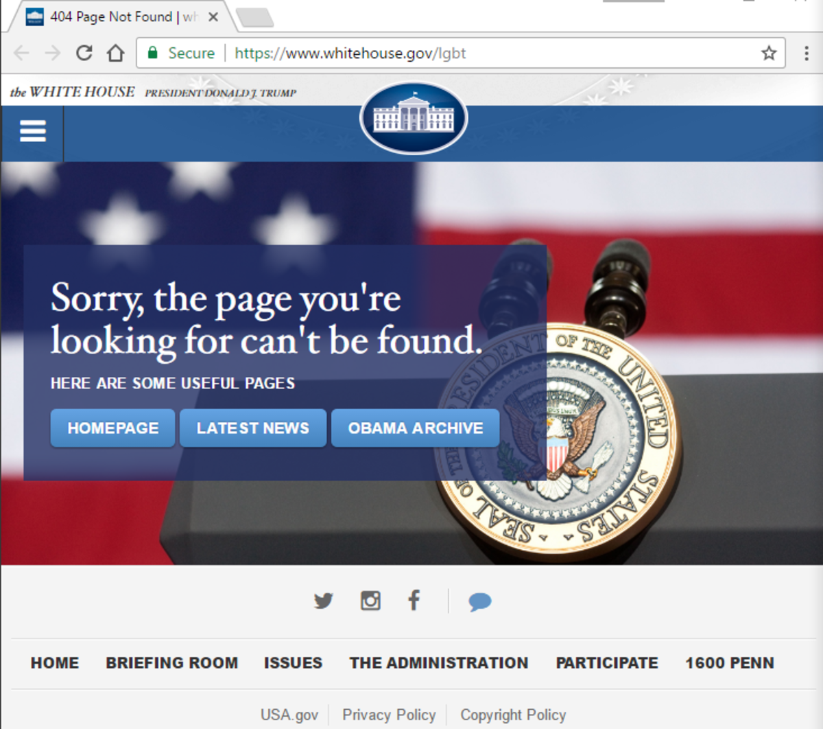 A screen capture from the current WhiteHouse.gov website