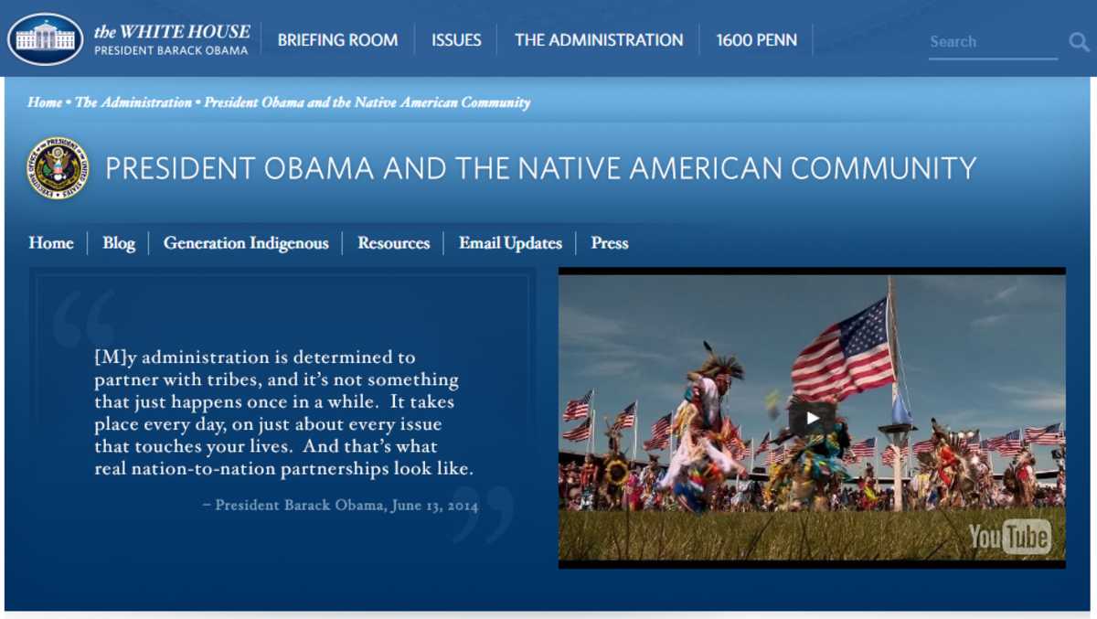 A screen capture from President Obama's recognition of Native Americans on the WhiteHouse.gov website