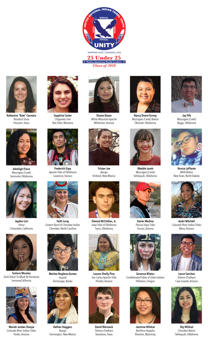 """UNITY has announced the third class of its """"25 Under 25 Native Youth Leaders"""" national recognition program that honors Native American and Alaska Native youth."""