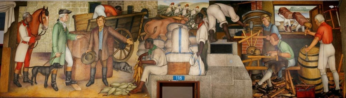 In his mural, Arnautoff strove to emphasize everyday Americans of all races.