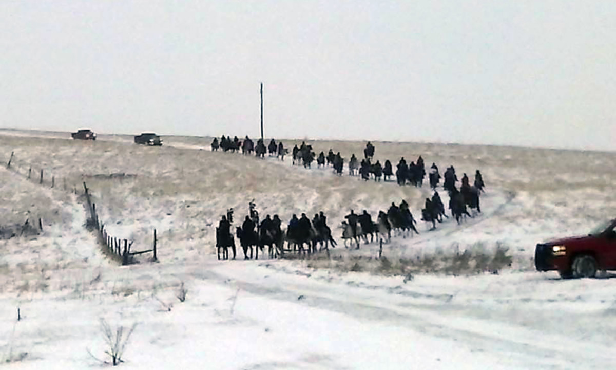 Slim Buttes Riders in the snow.