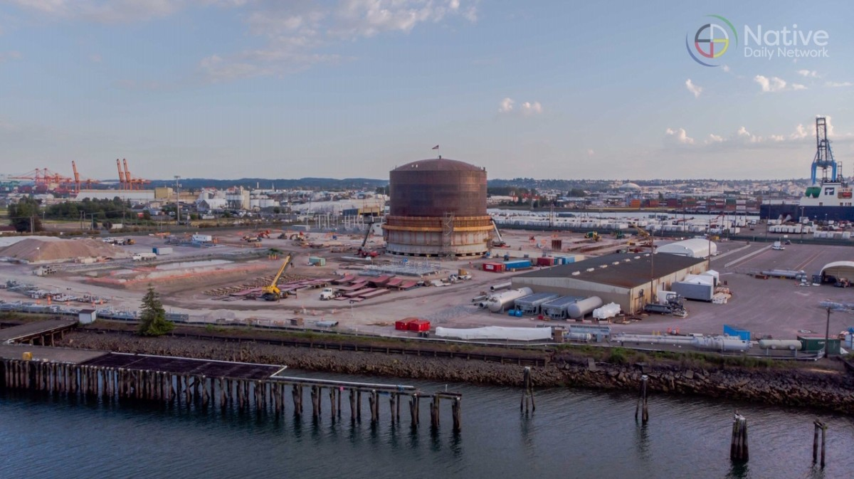 Puget Sound Energy's liquefied natural gas plant under construction on the Puyallup River tideflats. (Photo courtesy Native Daily Network.)