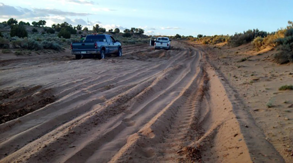 Many of the roads in tribal areas, like the Navajo Nation, are unpaved and become impassable during bad weather. (Photo courtesy Navajo County Public Works Department)