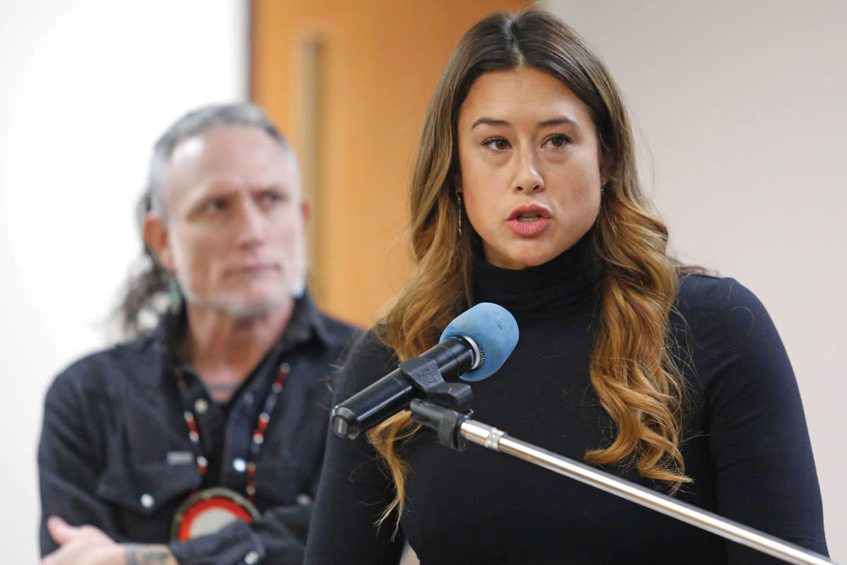 Smoke Signals Editorial Board Member Monty Herron listens to Mia Prickett, a fellow board member, as she presents to the Tribal Council about the importance of objective reporting on the Grand Ronde Tribe.