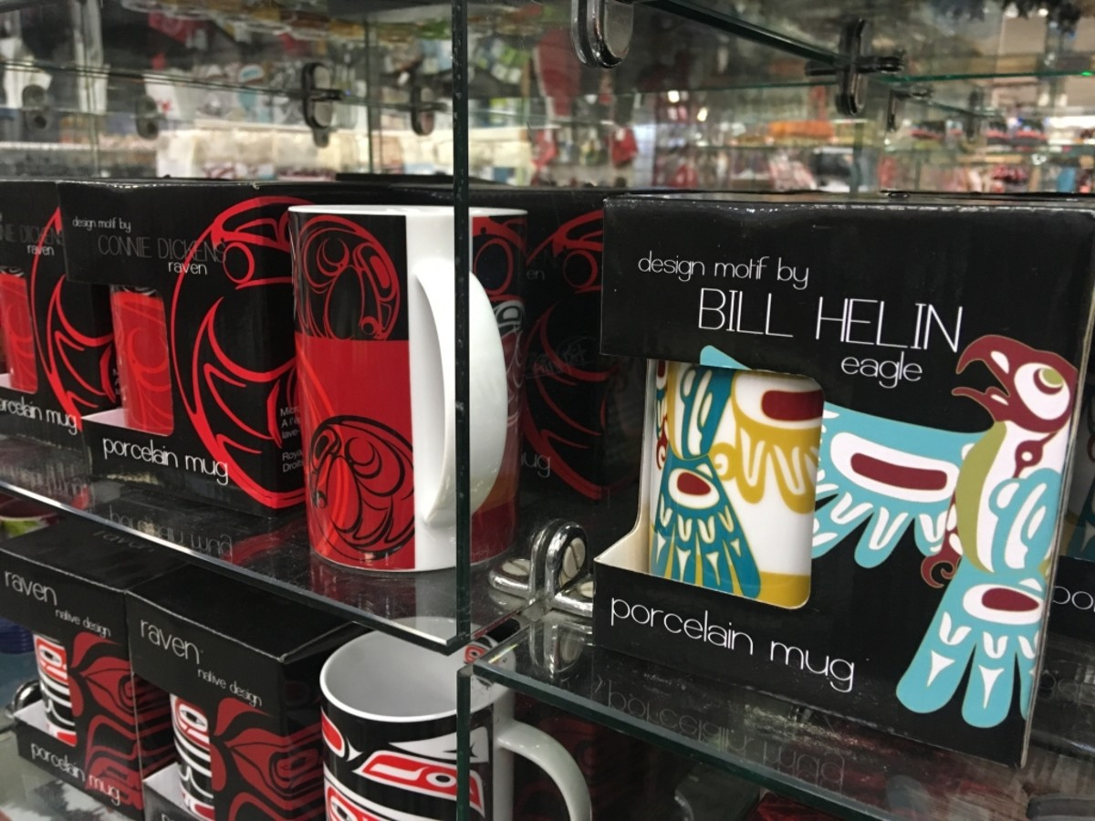Coasters, mugs and tea towels bearing artist Bill Helin's signature are sold in several souvenir shops in Vancouver.