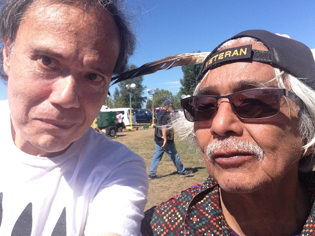 Indian Country Today correspondent Frank Hopper, left, and Nooksack elder Robert Jimmy at the Puyallup Pow-Wow last summer in Tacoma.