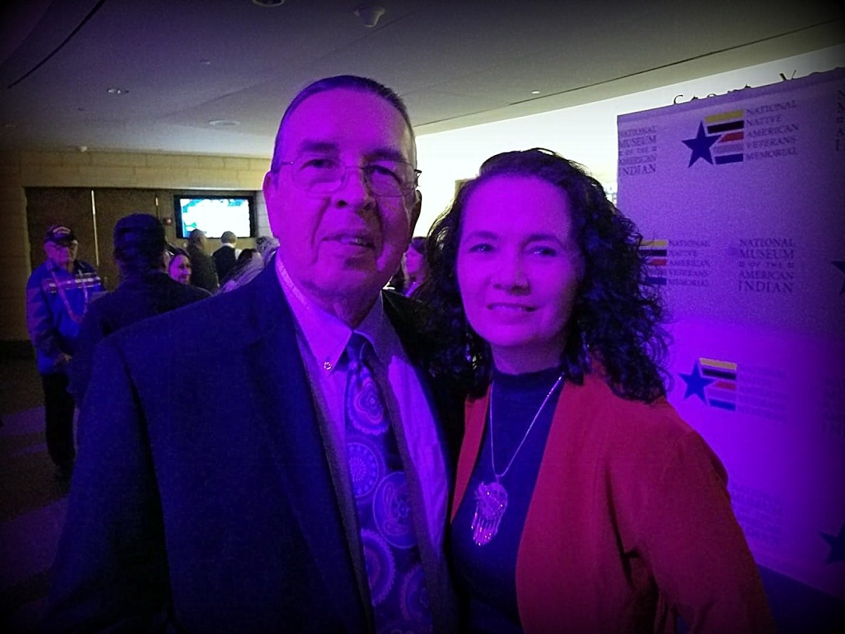 Northern Cheyenne Peace Chief Harvey Pratt, designer of the National Native American Veterans Memorial, and his wife Gina at a November 8 fund-raising event for the memorial held at the National Museum of the American Indian.