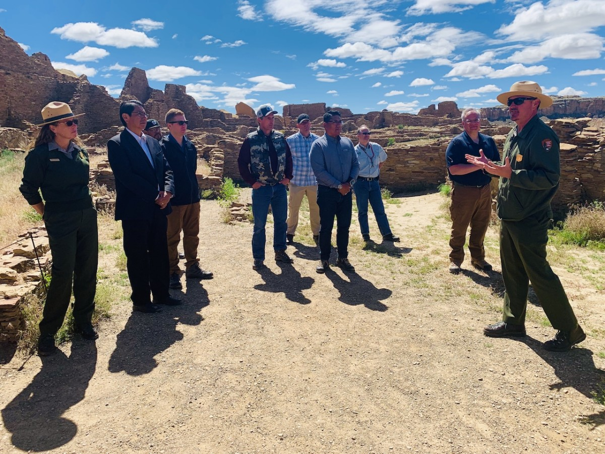 Pictured: Navajo Nation President Jonathan Nez, U.S. Secretary of the Interior David Berndardt, U.S. Senator Martin Heinrich, and other tribal leaders visit the Chaco Culture National Historical Park in New Mexico, on May 28, 2019.
